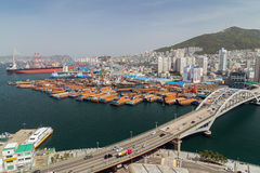View of port and city of Busan from above Stock Photos