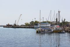 View of the port in the city of Evpatoria from the quay named after Tereshkova, Crimea Royalty Free Stock Photography