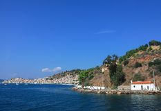 View of port city on the hillside in greece Royalty Free Stock Images