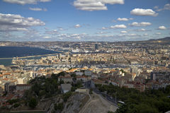 View on the port and the city of Marseille Stock Images