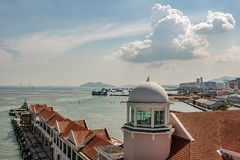 View of the port and city of Penang Malaysia. Panoramic view of the harbor with its facilities and the city of Penang Malaysia Royalty Free Stock Photos