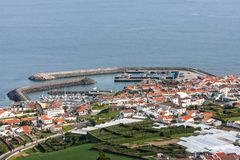 View of the port city with several berths from the top - portugal stock photos