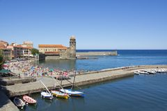 Port of Collioure, France. View on the port of Collioure, an old Mediterranean city in France Stock Photo