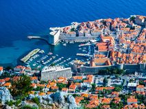 View of the port and the old town in Dubrovnik City. stock photos
