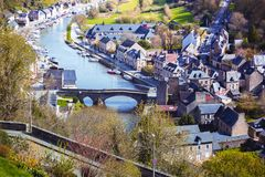 View of the port of the famous city of Dinan. Normandy, France Royalty Free Stock Photos
