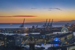 View of port Genoa in the evening stock image
