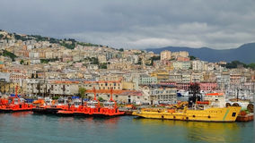View on the port of Genoa, Italy. Stock Photo