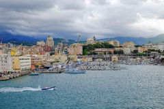 View on the port of Genoa, Italy. Royalty Free Stock Images