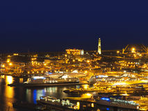 View from the port of Genoa, with its famous lant Stock Image