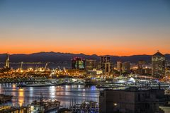 View of the port of Genoa at sunset, Italy. stock images