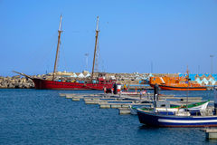 View on the Port of Gran Tarajal in Fuerteventura, Spain. Pictur. View on the boats in the port in Gran Tarajal on the island Fuerteventura in Spain Royalty Free Stock Photography