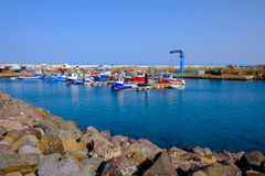 View on the Port of Gran Tarajal in Fuerteventura, Spain. Pictur. View on the boats and ships in the port in Gran Tarajal on the island Fuerteventura in Spain Royalty Free Stock Images