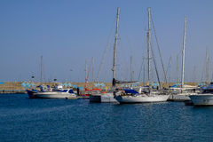 View on the Port of Gran Tarajal in Fuerteventura, Spain. Pictur. View on the boats and ships in the port in Gran Tarajal on the island Fuerteventura in Spain Stock Image
