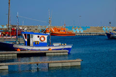 View on the Port of Gran Tarajal in Fuerteventura, Spain. Pictur. View on the boats and ships in the port in Gran Tarajal on the island Fuerteventura in Spain Stock Photo
