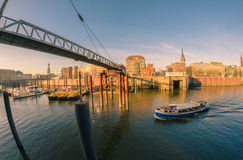 Port of Hamburg. View of the port of Hamburg with a fisheye lens Royalty Free Stock Photography