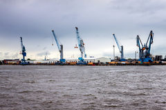 View of a port in Hamburg Royalty Free Stock Photos