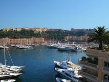 View of Port Hercule , Monaco. Panoramic view of Port Hercule with yachts anchored in a sunny summer day, Monaco. Cote d`Azur .Seascape. View from above stock photography