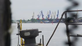 View of the port infrastructure stock footage