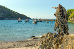 View from Port Isaac harbour Cornwall to sea Stock Photos