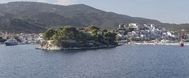 View of the port of the island Skiathos Northern Sporades, Greece royalty free stock image