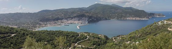 View of the port of the island Skopelos Northern Sporades, Greece. Panoramic view of the port of Skopelos Northern Sporades, Greece, mountains and the sea from a Stock Photography