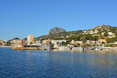 View of the port in Javea on the Costa Blanca, Spain stock photo