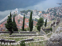 View at Port of Kotor. View at the Kotor harbour from the hill Royalty Free Stock Photography