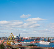 View on the port with loading cargo ship Stock Photo