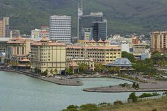 View of Port Louis, Mauritius. Seafront in Port Louis - capital of Mauritius, Africa Stock Photography