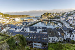 View of the port of Luarca and homes. Spain Stock Image