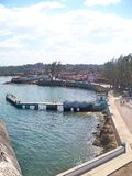 View of the port, malecon and pier of Bahia de Cojimar. 2012 stock photography