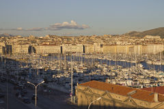 View on the port of Marseille at sunset Royalty Free Stock Photography