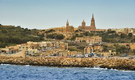 Gozo island, port Mgarr, Malta. A view of the port of Mgarr on the island of Gozo, the main harbour and the point of arrival for ferries from mainland of Malta Stock Photos
