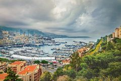 Monaco harbour at dusk day. Monte Carlo Royalty Free Stock Images