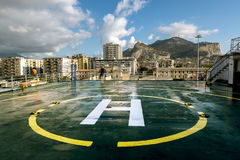 A view of the port and mount Pellegrino and the city of Palermo Royalty Free Stock Photo