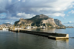A view of the port and mount Pellegrino and the city of Palermo Royalty Free Stock Images