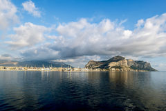 A view of the port and mount Pellegrino and the city of Palermo. Palermo.Italy.May 26, 2017.A view of the port and mount Pellegrino and the city of Palermo from Stock Image