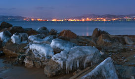 View of the port of Nakhodka in the early winter morning. Royalty Free Stock Photos