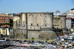 View from the port of Naples on Castle Nouvo Royalty Free Stock Image