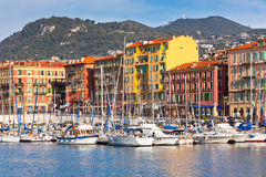 View on Port of Nice, France. View on Port of Nice and Luxury Yachts, French Riviera, France Royalty Free Stock Photos
