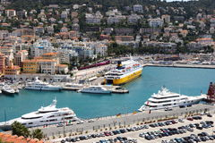 View upon the port of Nice in France Stock Photos