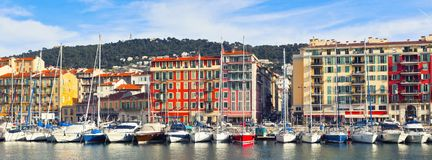 View on Port of Nice, France. View on Port of Nice and Luxury Yachts, French Riviera, France. Long wide banner Royalty Free Stock Images