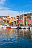 View on Port of Nice and Luxury Yachts, France Royalty Free Stock Images