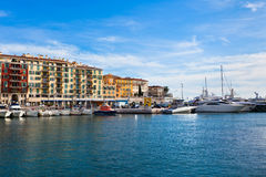 View on Port of Nice and Luxury Yachts, French Riviera Royalty Free Stock Photography