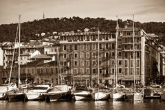 View on Port of Nice and Luxury Yachts, French Riviera, France Stock Photo