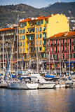 View on Port of Nice and Luxury Yachts, French Riviera, France Royalty Free Stock Images