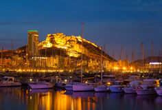 View of port  in night. Alicante Royalty Free Stock Images