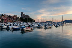 View of port and old castle. Stock Photography