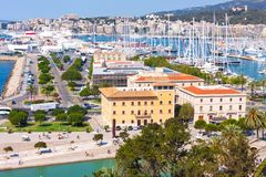View of the port of Palma with luxury yachts from the terrace of the Cathedral of Santa Maria of Palma, also known as La Seu. Palma, Mallorca, Spain Royalty Free Stock Photo