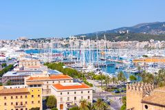 View of the port of Palma with luxury yachts from the terrace of the Cathedral of Santa Maria of Palma, also known as La Seu. Palma, Mallorca, Spain Stock Photo